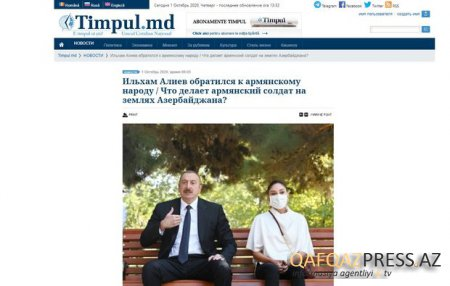 Moldova portalı İlham Əliyevin müraciətindən yazdı