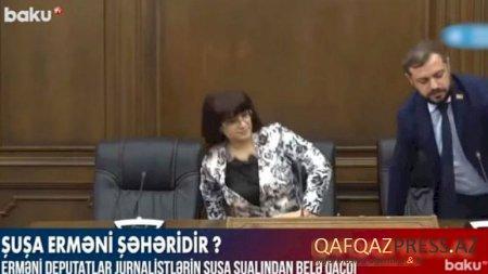 Erməni deputatlar jurnalistlərin Şuşa sualından qaçdı - VİDEO