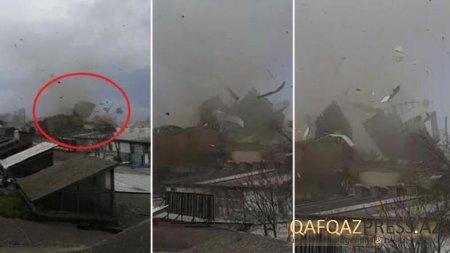 Türkiyədə qasırğa evlərin damını uçurdu, maşınları aşırdı - VİDEO